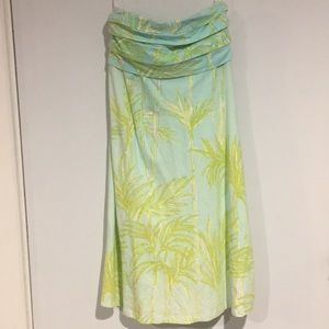 LILLY PULITZER PALM PRINT STRAPLESS DRESS -BUY NOW